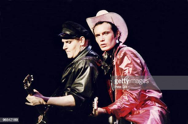 Marco Pirroni and Adam Ant of Adam and the Ants perform on stage on his solo concert tour at Hammersmith Odeon on September 27th 1985 in London...