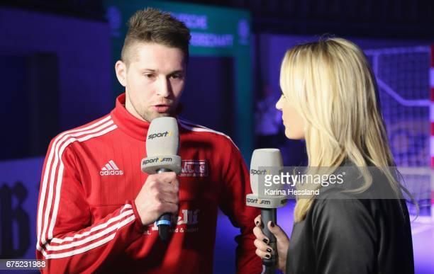 Marco Pohl of HohensteinErnstthal in interview with Nele Schenker during the Deutsche Futsal Meisterschaft between VFL 05 HohensteinErnstthal and SSV...