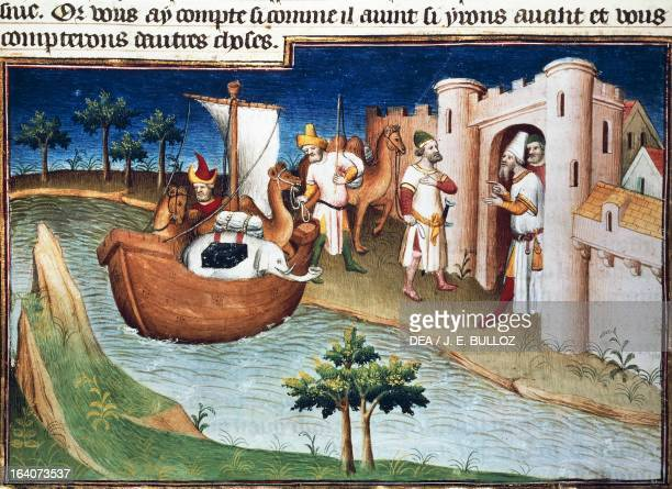 Marco Polo arriving into Hormuz Port miniature from the Livres des merveilles du monde French version of the The Travels of Marco Polo by Marco Polo...
