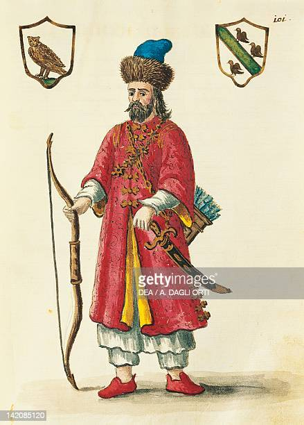 Marco Polo dressed in Tartar costume illustration from Venetian Costumes by Giovanni Grevenbroeck 18th Century