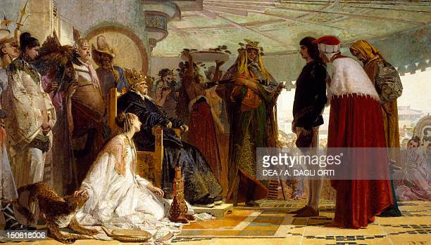 Marco Polo in front of the Great Khan of the Tartars ca 1863 by Tranquillo Cremona
