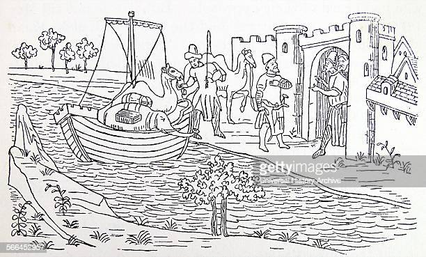 marco polo lands at ormuz from a miniature in the livre des merveilles the kingdom of