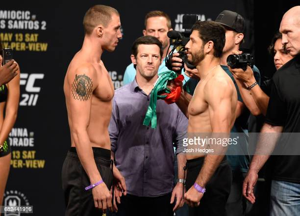 Marco Polo Reyes of Mexico and James Vick face off during the UFC 211 weighin at the American Airlines Center on May 12 2017 in Dallas Texas