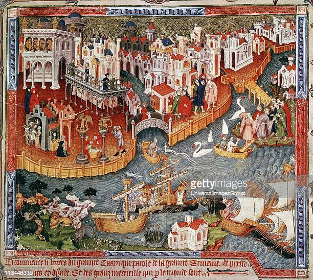 Marco Polo setting out from Venice with his father and uncle for court of Kublai Khan where they arrive 1275 Travels of Marco Polo 15th century...