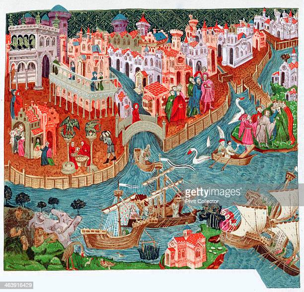 Marco Polo Venetian merchant and explorer 14th century Marco Polo setting out with his uncles from Venice for the Far East In the foreground are...