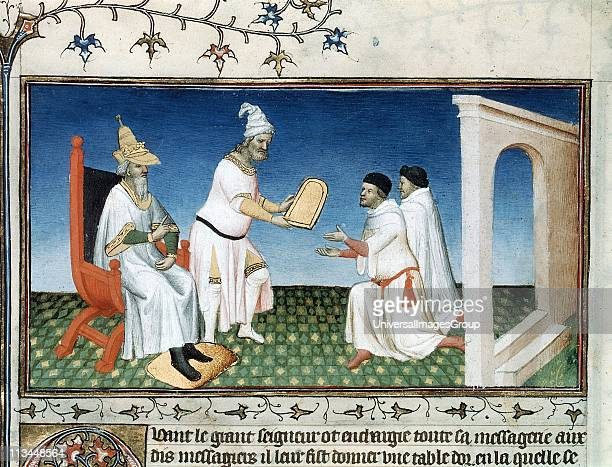 Marco Polo Venetian traveller and merchant 'Book of Marvels ' early 15th century manuscript illustrated by Masters Boucicaut and Bedford Kublai Khan...