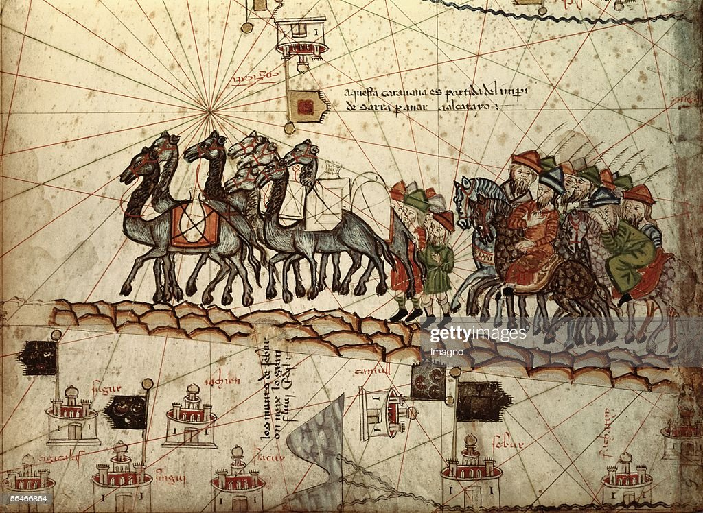 <a gi-track='captionPersonalityLinkClicked' href=/galleries/search?phrase=Marco+Polo&family=editorial&specificpeople=79051 ng-click='$event.stopPropagation()'>Marco Polo</a> with a caravan. Illustration from the 'Catalan Atlas'. Ar. 1375. Bibliotheque Nationale, Paris. (Photo by Imagno/Getty Images) [<a gi-track='captionPersonalityLinkClicked' href=/galleries/search?phrase=Marco+Polo&family=editorial&specificpeople=79051 ng-click='$event.stopPropagation()'>Marco Polo</a> mit einer Karavane. Illustration aus dem 'Katalanischen Atlas'. Um 1375. Bibliotheque Nationale, Paris.]