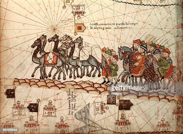 Marco Polo with a caravan Illustration from the 'Catalan Atlas' Ar 1375 Bibliotheque Nationale Paris [Marco Polo mit einer Karavane Illustration aus...