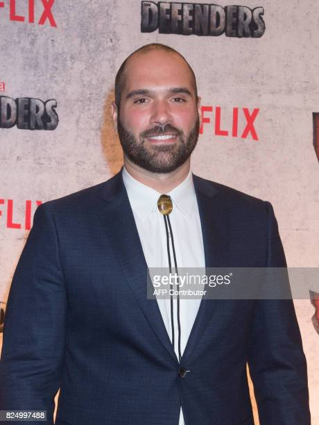 Marco Ramirez arrives for the Netflix premiere of Marvel's 'The Defenders' on July 31 2017 in New York / AFP PHOTO / Bryan R Smith