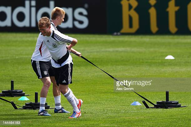 Marco Reus and Andre Schuerrle exercise during a Germany training session at Campo Sportivo Comunale Andrea Dora on May 14 2012 in Olbia Italy