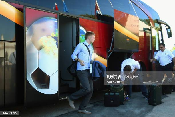 Marco Reus arrives for the German national team's training camp at the team's hotel 'Romazzino' on May 11 2012 in Porto Cervo Italy