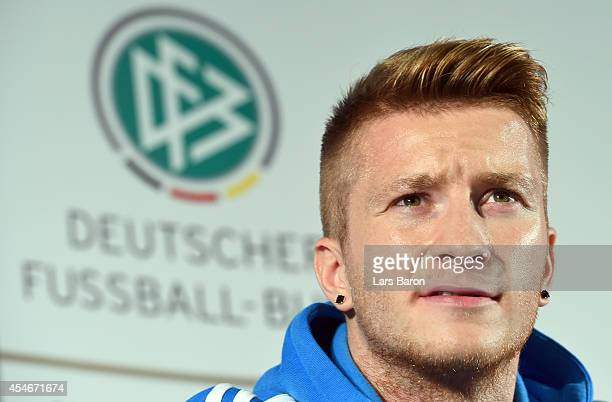 Marco Reus looks on during a Germany press conference at Sportschule Kaiserau on September 5 2014 in Kamen Germany