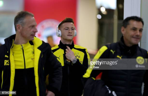 Marco Reus of Borussia Dortmund arrives at the players' tunnel before the DFB Cup semi final match between FC Bayern Muenchen and Borussia Dortmund...
