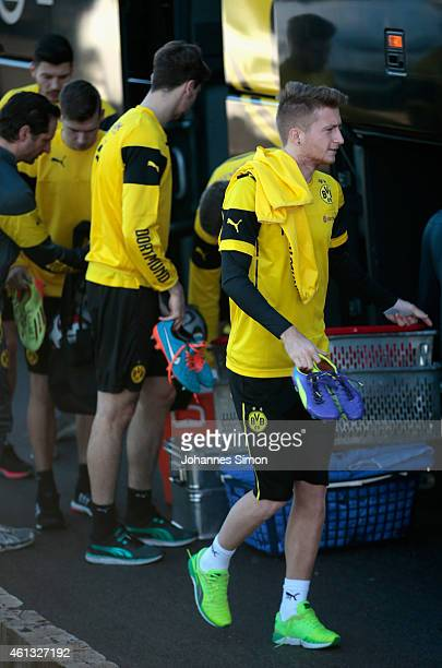 Marco Reus of Borussia Dortmund arrives for the first training session in the Borussia Dortmund training camp day 02 on January 11 2015 in La Manga...