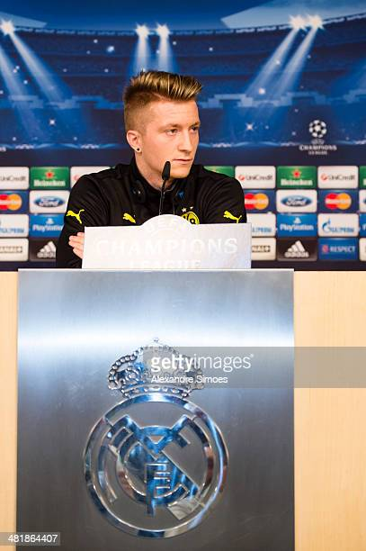 Marco Reus of Borussia Dortmund attends a training session at Santiago Bernabeu on April 1 2014 in Madrid Spain