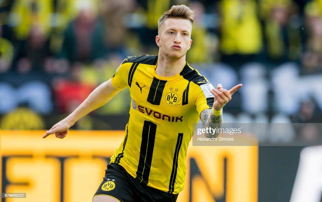 Marco Reus of Borussia Dortmund celebrates after scoring his team's 1st goal during the Bundesliga match between Borussia Dortmund and TSG 1899 Hoffenheim at Signal Iduna Park on May 6, 2017 in Dortmund, Germany.