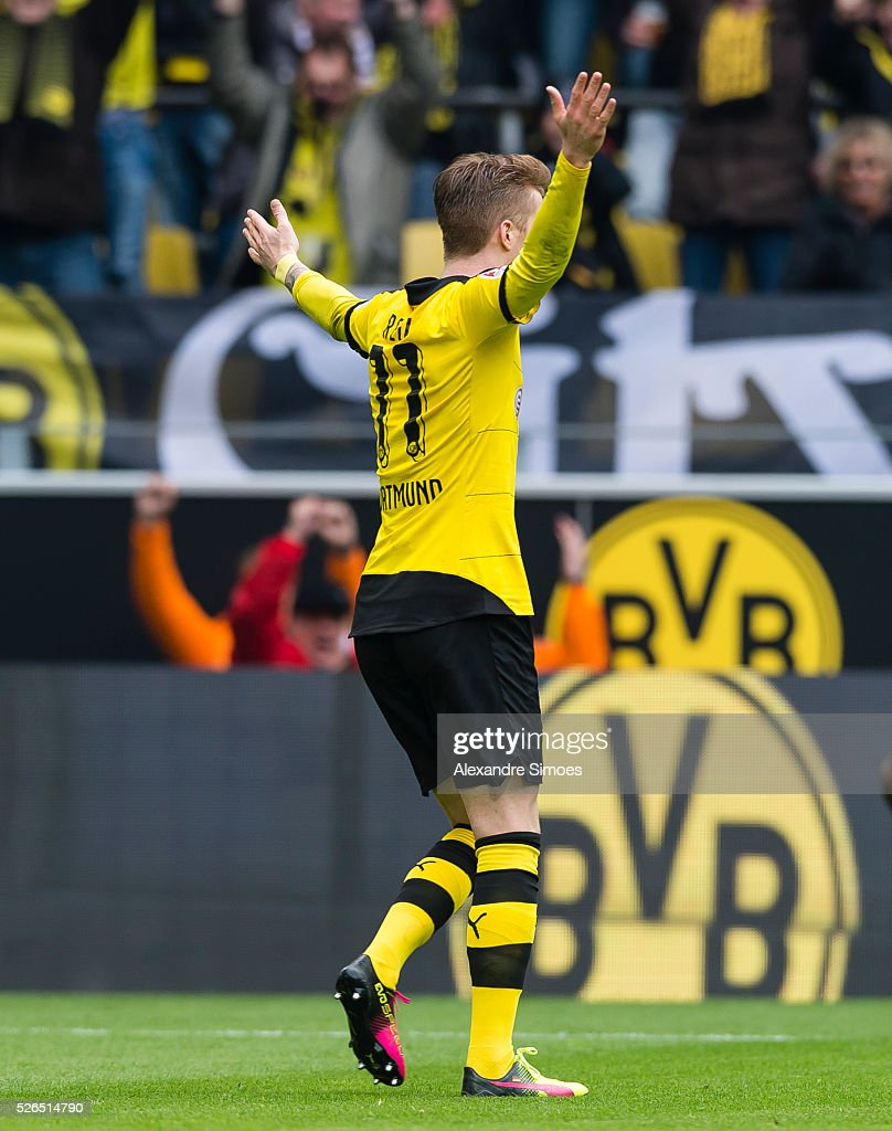 Marco Reus of Borussia Dortmund celebrates after scoring the goal to the 3:0 during the Bundesliga match between Borussia Dortmund and VfL Wolfsburg at Signal Iduna Park on April 30, 2016 in Dortmund, Germany.