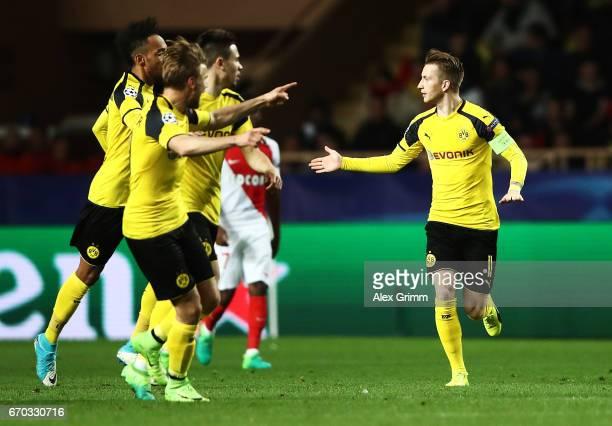 Marco Reus of Borussia Dortmund celebrates scoring a goal during the UEFA Champions League Quarter Final second leg match between AS Monaco and...