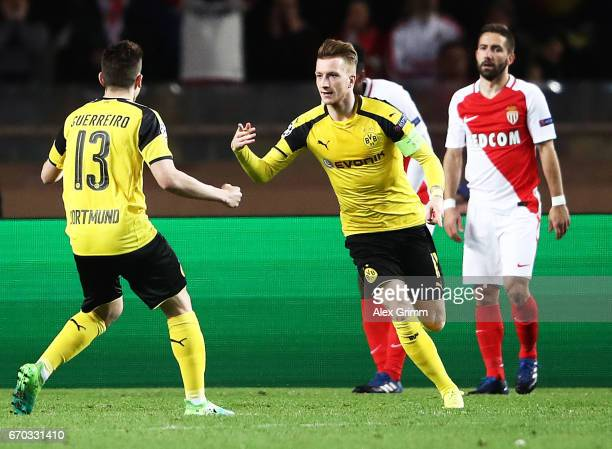 Marco Reus of Borussia Dortmund celebrates scoring a goal during the UEFA Champions League Quarter Final second leg match between AS Monaco and...