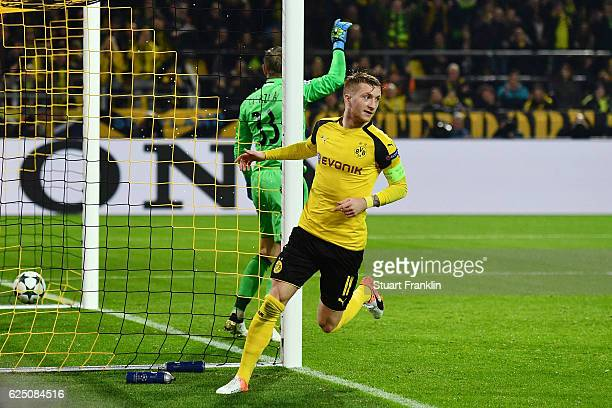 Marco Reus of Borussia Dortmund celebrates scoring his teams sixth goal during the UEFA Champions League Group F match between Borussia Dortmund and...