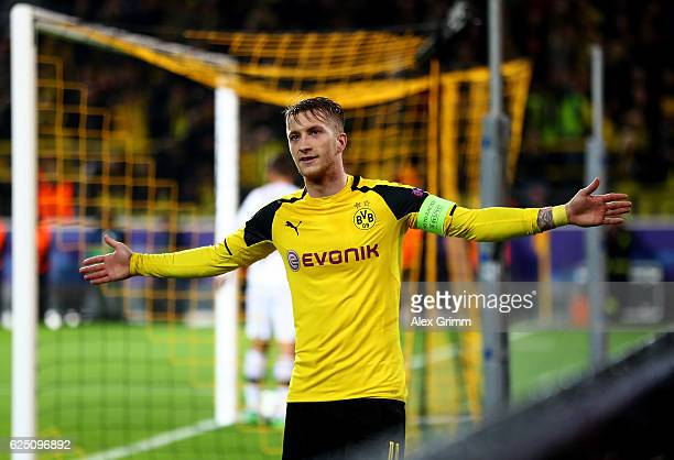Marco Reus of Borussia Dortmund celebrates scoring his third and his teams eighth during the UEFA Champions League Group F match between Borussia...