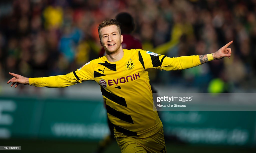 <a gi-track='captionPersonalityLinkClicked' href=/galleries/search?phrase=Marco+Reus&family=editorial&specificpeople=5445884 ng-click='$event.stopPropagation()'>Marco Reus</a> of Borussia Dortmund celebrates the goal to go 1:2 during the Bundesliga match between Hannover 96 and Borussia Dortmund at HDI-Arena on MARCH 21, 2015 in Hannover, Germany.
