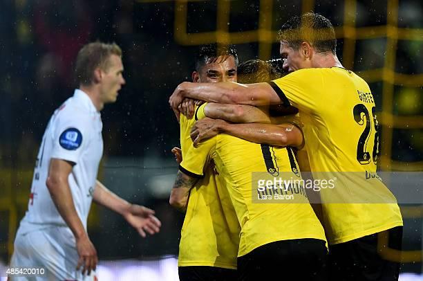 Marco Reus of Borussia Dortmund celebrates with team mate Ilkay Gundogan of Borussia Dortmund after scoring his teams second goal the UEFA Europa...