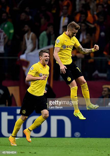 Marco Reus of Borussia Dortmund celerates after scoring his team's third goal during UEFA Champions League Group D match between Galatasaray and...