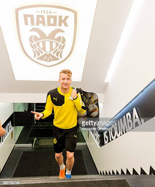 Marco Reus of Borussia Dortmund during a training session prior to the UEFA Europa League Group C match between PAOK FC and Borussia Dortmund at...
