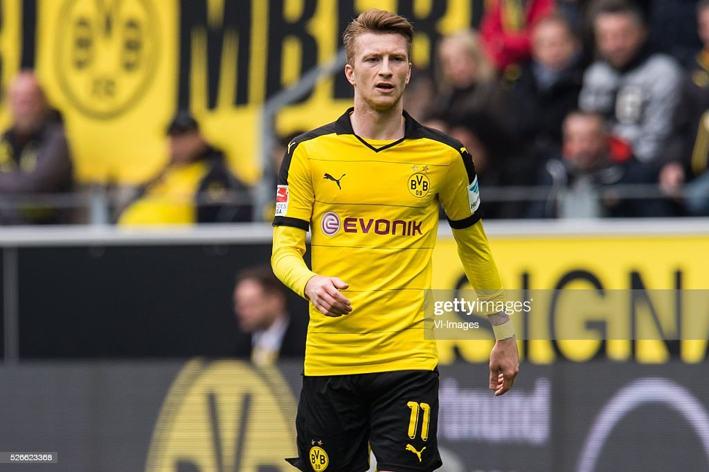 Marco Reus of Borussia Dortmund during the Bundesliga match between Borussia Dortmund and VfL Wolfsburg on April 30, 2016 at the Signal Idun Park stadium in Dortmund, Germany.