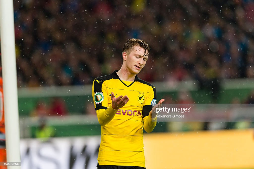 Marco Reus of Borussia Dortmund during the DFB Cup match between VfB Stuttgart and Borussia Dortmund at Mercedes-Benz Arena on February 09, 2016 in Stuttgart, Germany.