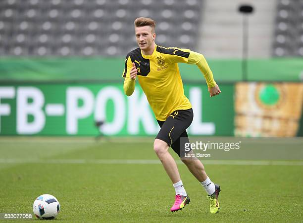 Marco Reus of Borussia Dortmund in action during the Borussia Dortmund training session at Olympiastadion on May 20 2016 in Berlin Germany
