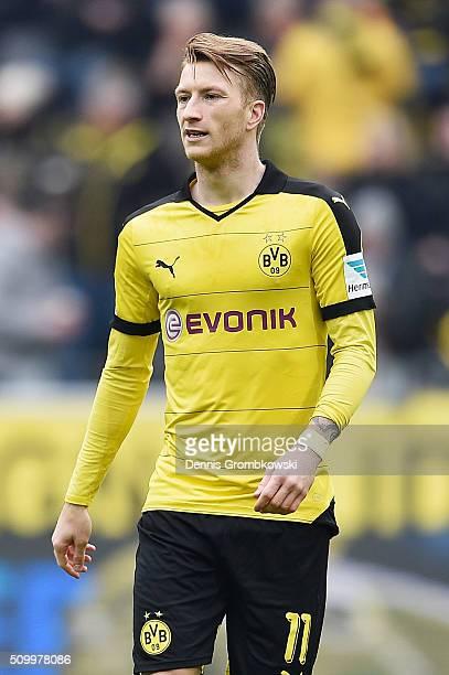 Marco Reus of Borussia Dortmund looks on during the Bundesliga match between Borussia Dortmund and Hannover 96 at Signal Iduna Park on February 13...