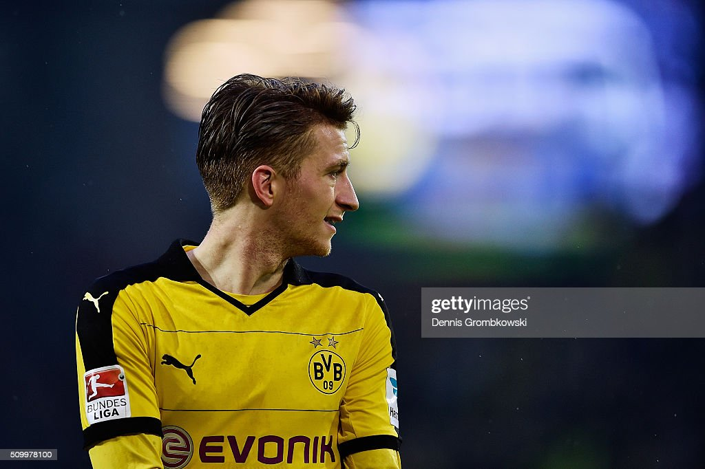 <a gi-track='captionPersonalityLinkClicked' href=/galleries/search?phrase=Marco+Reus&family=editorial&specificpeople=5445884 ng-click='$event.stopPropagation()'>Marco Reus</a> of Borussia Dortmund looks on during the Bundesliga match between Borussia Dortmund and Hannover 96 at Signal Iduna Park on February 13, 2016 in Dortmund, Germany.
