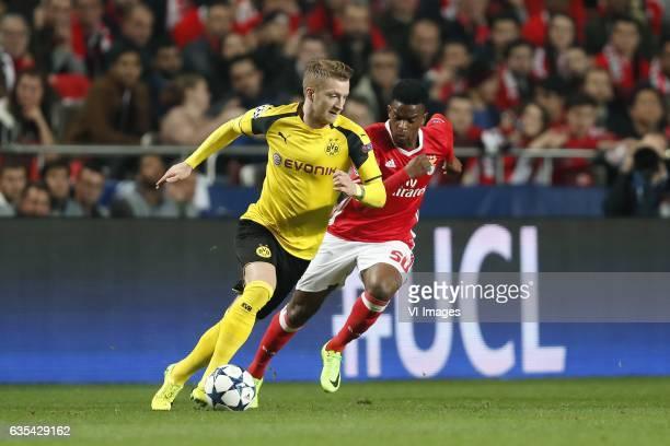 Marco Reus of Borussia Dortmund Nelson Semedo of SL Benficaduring the UEFA Champions League round of 16 match between SL Benfica and Borussia...
