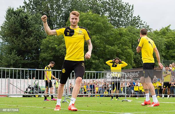Marco Reus of Borussia Dortmund plays 'football tennis' during a training session ot the training ground of Bad Ragaz on July 23 2015 in Bad Ragaz...