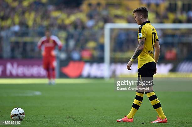 Marco Reus of Borussia Dortmund prepares to take a free kick during the Bundesliga match between Borussia Dortmund and Hertha BSC at Signal Iduna...