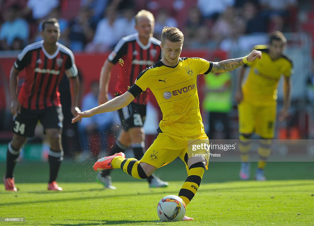 <a gi-track='captionPersonalityLinkClicked' href=/galleries/search?phrase=Marco+Reus&family=editorial&specificpeople=5445884 ng-click='$event.stopPropagation()'>Marco Reus</a> (C) of Borussia Dortmund scores his team's second goal with a penalty during the Bundesliga match between FC Ingolstadt and Borussia Dortmund at Audi Sportpark on August 23, 2015 in Ingolstadt, Germany.