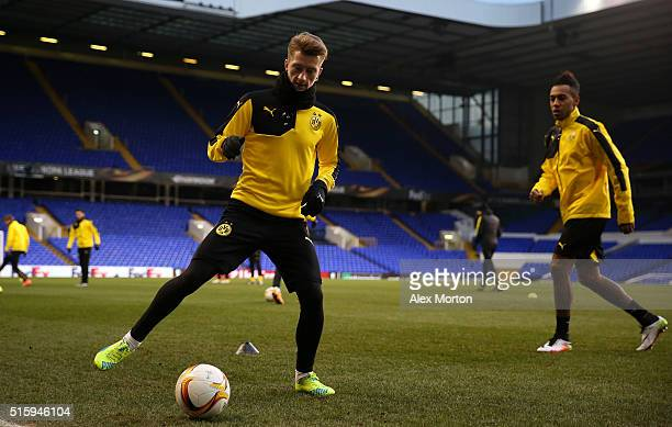 Marco Reus of Borussia Dortmund takes part in a drill during a training session ahead of the UEFA Europa League round of 16 second leg match between...