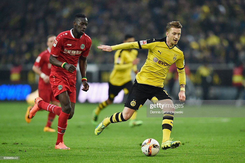 <a gi-track='captionPersonalityLinkClicked' href=/galleries/search?phrase=Marco+Reus&family=editorial&specificpeople=5445884 ng-click='$event.stopPropagation()'>Marco Reus</a> of Borussia Dortmund vies for the ball during the Bundesliga match between Borussia Dortmund and Hannover 96 at Signal Iduna Park on February 13, 2016 in Dortmund, Germany.