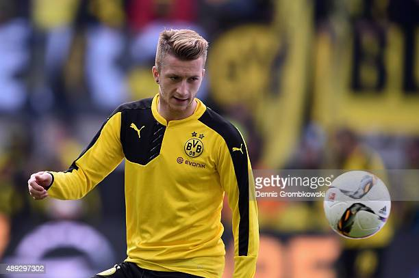 Marco Reus of Borussia Dortmund warms up prior to kickoff during the Bundesliga match between Borussia Dortmund and Bayer Leverkusen at Signal Iduna...