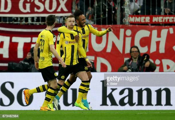 Marco Reus of Dortmund celebrates after he scores the opening goal during the DFB Cup semi final match between FC Bayern Muenchen and Borussia...