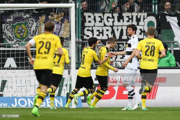 Marco Reus of Dortmund celebrates after scoring a penalty shot to make it 01 during the Bundesliga match between Borussia Moenchengladbach and...