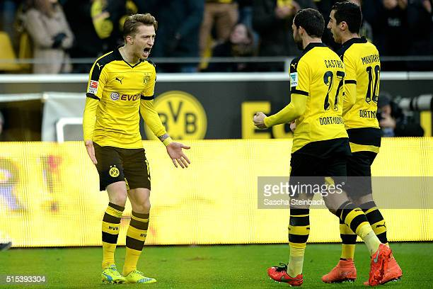 Marco Reus of Dortmund celebrates after scoring the opening goal during the Bundesliga match between Borussia Dortmund and 1 FSV Mainz 05 at Signal...