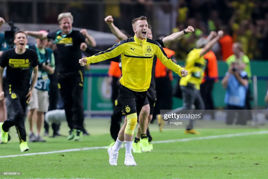 Marco Reus of Dortmund celebrates after winning the DFB Cup final match between Eintracht Frankfurt and Borussia Dortmund at Olympiastadion on May 27, 2017 in Berlin, Germany.