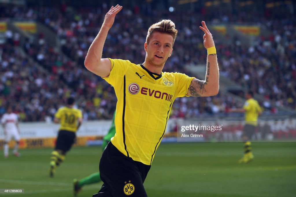 Marco Reus of Dortmund celebrates his team's first goal during the Bundesliga match between VfB Stuttgart and Borussia Dortmund at Mercedes-Benz Arena on March 29, 2014 in Stuttgart, Germany.