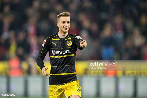 Marco Reus of Dortmund celebrates his teams first goal during the Bundesliga match between 1 FC Koeln and Borussia Dortmund at RheinEnergieStadion on...
