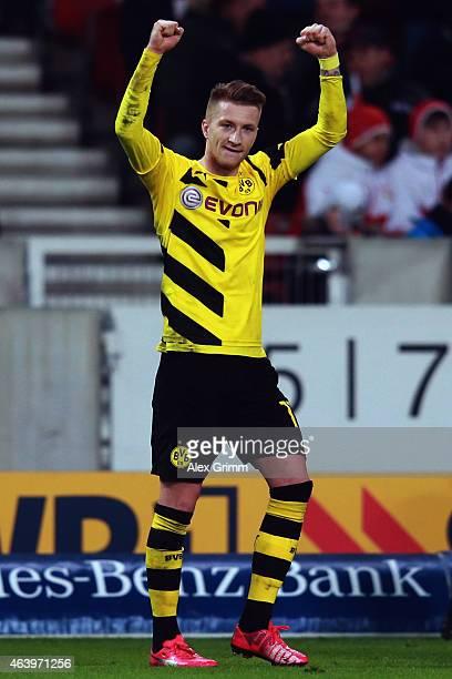 Marco Reus of Dortmund celebrates his team's third goal during the Bundesliga match between VfB Stuttgart and Borussia Dortmund at MercedesBenz Arena...