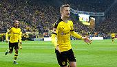 Marco Reus of Dortmund celebrates scoring the 20 goal during the Bundesliga match between Borussia Dortmund and FC Augsburg at Signal Iduna Park on...