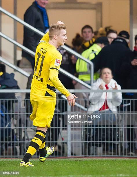 Marco Reus of Dortmund celebrates scoring the goal to the 02 during the Bundesliga match between SC Paderborn 07 and Borussia Dortmund at Benteler...